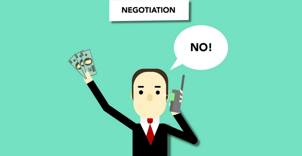 cartoon artwork of a businessman negotiating with someone over the phone while waving money around in his other hand