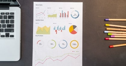 piece of paper on a table with various types of charts displayed on it