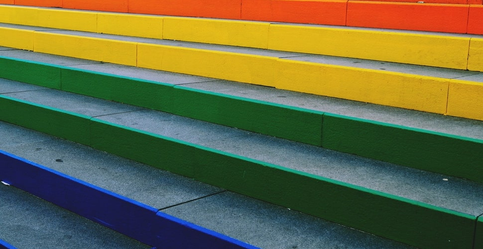 stairs colored in the colors of the rainbow